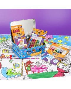 BIC Kids Colouring Lunch Box - 12 Oil Pastels/12 Magic Felt Pens/6 Glitter Glue Tubes/1 Colouring Poster