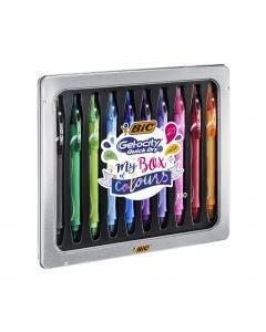 BIC Gel-ocity Quick Dry My Box of Colours Gel Pens Medium Point (0.7 mm) - Assorted Colours, Metal Gift Box of 10