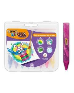 BIC Kids Duo Magix Crayons de Couleur Aquarellables - Couleurs Assorties